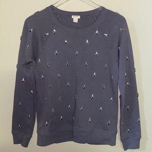 J. Crew Jeweled Grey Crewcut Sweatshirt S